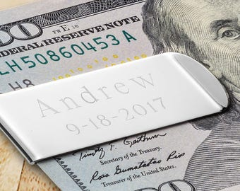 Engraved Classic Metal Money Clip - Personalized Money Clip - Money Clip - Personalized Gifts for Him - Groomsman Gifts