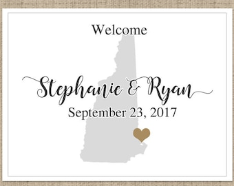 """4"""" x 3""""  Personalized Welcome Box Labels -  30 Wedding Welcome Bag Labels - Wedding Labels - Welcome Stickers - Box Stickers - New Hampshire"""