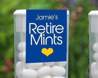 Retire Mints Tic Tac Labels, Retirement Party Favors, Retirement Tic Tac Labels, Personalized Party Favors, Set of 12, Customized Colors