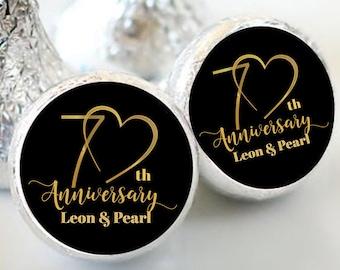 108 Hershey Kiss® Stickers - Hershey Kiss Stickers Bridal Shower - 70th Anniversary Kiss seals  - 70 years Kiss Labels  - Wedding Decor