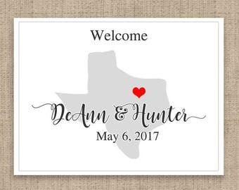 "4"" x 3""  Personalized Welcome Box Labels -  30 Wedding Welcome Bag Labels - Wedding Favor Labels - Welcome Stickers - Box Stickers - Texas"