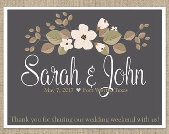 Personalized Floral Welcome Box and Bag Labels - Bridal Shower - Wedding Rehearsal - Hotel Guests - Thank You Favors - Multiple Sizes