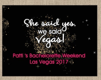 "4"" x 3""  Welcome Box Labels -  18 Bachelorette Welcome Bag Labels - Welcome Stickers - Box Stickers - She said yes, we said Vegas!"