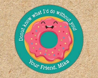 Valentine Stickers | I Donut What I'd Do Without You | Boys Valentine Favors | Donut Stickers | Valentine Tag | Classroom Party Favors
