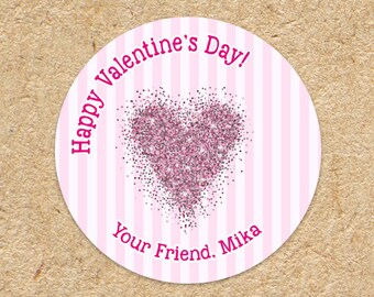 Valentines Day Sticker |  Pink Glitter Heart with Pink Stripes | Valentines Sticker | Valentines Party Favors | Treat Stickers | Round Label