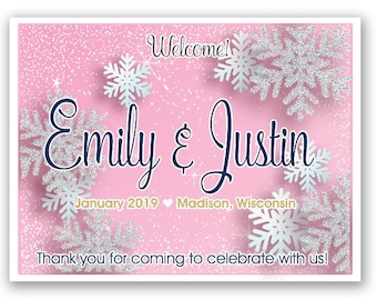 """4"""" x 3""""  Personalized Welcome Box Labels -  30 Wedding Welcome Bag Labels - Favor Labels - Welcome Stickers - Box Stickers - Snowflakes"""