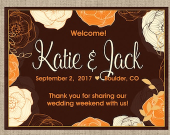 Personalized Welcome Box Labels -  Wedding Welcome Bag Labels - Fall Favor Labels - Welcome Stickers - Box Stickers - Leaves