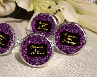Purple Glitter and Gold Hershey Kiss® Stickers - Hershey Kiss Stickers Birthday - Personalized Hershey Kiss Labels - Hershey Kiss Seals