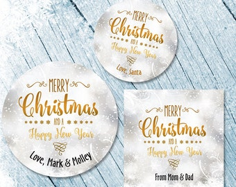 Merry Christmas Labels, Merry Christmas Stickers, Happy New Year Labels, Happy holidays stickers, Christmas Card Seals, Snowflakes
