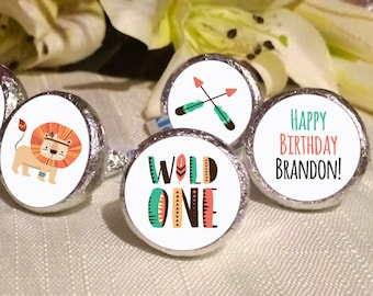 Wild One Birthday Favors - Wild One Animals Party Favors - Kiss  Birthday Favors - Hershey® Kiss Stickers - Kiss Seals - 108 Stickers