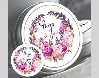 Bridal Shower Mint Tins, Personalized Wedding Favor. Bridal Shower Favor, Baby Shower, Fuchsia Light Pink and Purple Floral Wreath