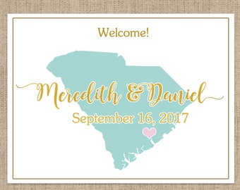 """4"""" x 3""""  Personalized Welcome Box Labels -  Wedding Welcome Bag Labels - Wedding Labels - Welcome Stickers - Box Stickers - South Carolina"""