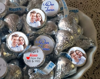 108 Hershey Kiss® Stickers, Photo Hershey Kiss Stickers Wedding, Personalized Kiss Labels, Wedding Favors, Names & Date. Kiss Seals