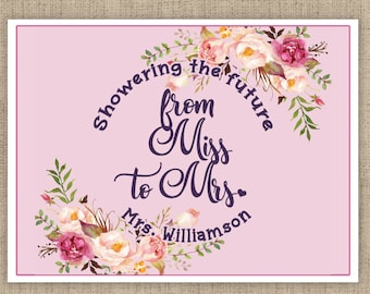 Personalized Bridal Shower Box Labels -  Showering the Future Mrs - From Miss to Mrs Box Stickers - Multiple Sizes Available