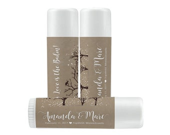 Lip Balm Labels - Personalized Lip Balm Labels - Our Love is the balm winter wedding labels - 1 Sheet of 12 Lip Balm Labels - Snow