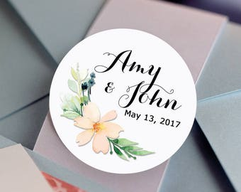 Floral Custom Labels - Personalized Stickers -  Round Stickers - Bridal Shower - Color Coordinated - Wedding Decor - Thank you