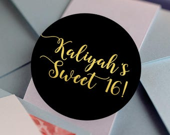 Sweet 16, Custom Labels - Personalized Stickers -  Round Stickers - Color Coordinated - Birthday Decor - Thank you