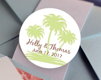 Palm Tree, Custom Labels - Personalized Stickers -  Round Stickers - Tropical - Color Coordinated - Wedding Decor - Thank you