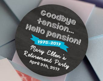 Retirement, Custom Labels - Round Retirement labels - Pension stickers - Party Stickers - Retirement Favor Stickers - Thank You