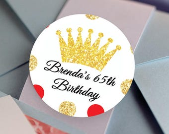 Crown Birthday Stickers, Custom Labels - Round Crown labels -  Birthday stickers - Birthday Favor Stickers - Thank You Stickers