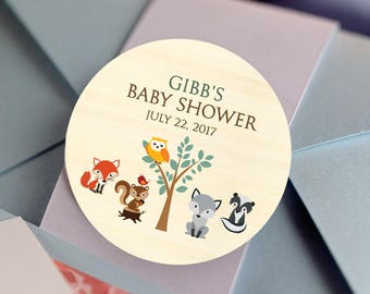 Thank You, Custom Labels - Personalized Stickers -  Round Stickers - Baby Shower - Woodland Animals - Color Coordinated - Woodland Baby