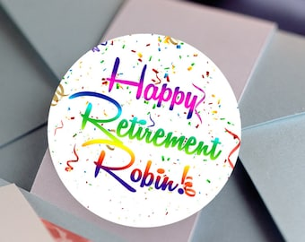 Retirement, Custom Labels - Round Retirement labels -Confetti stickers - Party Stickers - Retirement Favor Stickers - Thank You