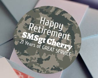 Retirement, Custom Labels - Round Retirement labels - Military stickers - Party Stickers - Retirement Favor Stickers - Camo