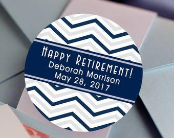 Retirement, Custom Labels - Round Retirement labels - Chevron stickers - Party Stickers - Retirement Favor Stickers - Thank You