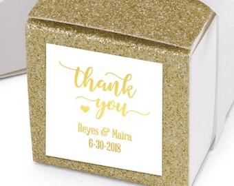Thank You Stickers, Custom Thank You  Labels - Square Thank You labels - Bridal Shower Stickers - Wedding Thank You Labels