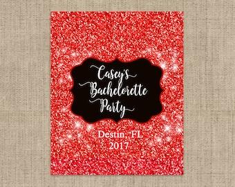 Personalized Lip Balm Labels - Red Glitter Bachelorette Party labels -  1 Sheet of 12 Lip Balm Labels - Custom Lip Balm Labels