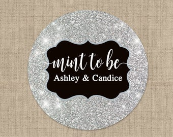Mint To Be Gold Stickers, Custom Labels - Wedding labels - Bridal Shower stickers - Wedding Decor - Thank you Stickers - Faux Silver Glitter