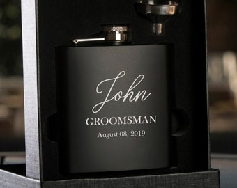 Groomsman Gift | Personalized Flask Set for Men | Custom Engraved Black Hip Flask | Best Man Flask | Name Flask for Groomsmen