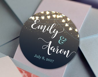 String Lights Stickers, Custom Labels - Wedding labels - Bridal Shower stickers - Wedding Decor - Thank you Stickers