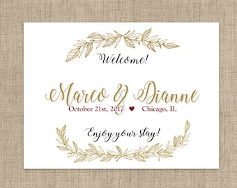 Personalized Gold Wreath Welcome Box Labels -  Perfect for Boxes or Bags - Multiple Sizes Available