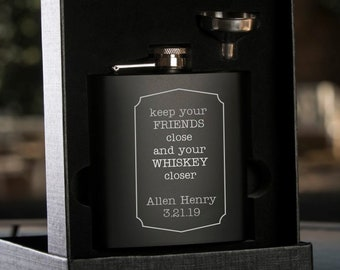 Whiskey Flask - Personalized Black Flask with Funnel - Gift Box - Wedding Party Gift - Black Flask - Groomsman Gift - Best Man Gift
