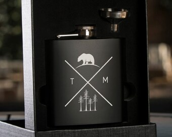 Bear Adventure - Personalized Black Flask with Funnel - Gift Box - Wedding Gift  - Wedding Party Gift - Groomsman Gift - Best Man Gift
