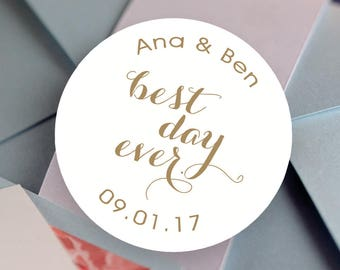 Best Day Ever Stickers, Custom Wedding Labels - Personalized Stickers -  Best Day Ever Round Stickers - Bridal Shower  - Color Coordinated