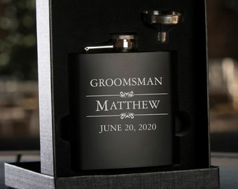 Personalized Black Flask with Funnel | Gift Flask | Gift for Him | Groomsman Gift | Best Man Gift | Wedding Party Gift | Grooms Gift