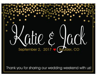"4"" x 3""  Personalized Welcome Box Labels -  30 Wedding Welcome Bag Labels -Welcome Stickers - Box Stickers - Gold Dots Black Labels"