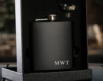 Laser Etched Flask -Personalized Black Hip Flask with Funnel - In Gift Box - Best Man Gift Wedding Party Gift - Groomsman Gift - Black Flask