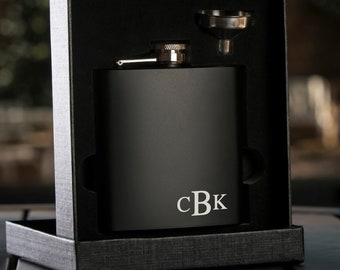 Personalized Monogrammed Black Flask with Funnel | Gift Flask | Gift for Him | Groomsman Gift | Best Man Gift | Boyfriend Gift | Grooms Gift