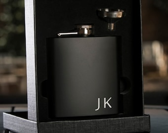 Personalized Black Hip Flask with Funnel - In Gift Box - Best Man Gift Wedding Party Gift - Groomsman Gift - Wedding Gift - Initials Flask