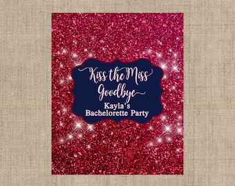 Personalized Lip Balm Labels - Dark Red Glitter Bachelorette Party labels -  1 Sheet of 12 Lip Balm Labels - Kiss the Miss Goodbye Labels