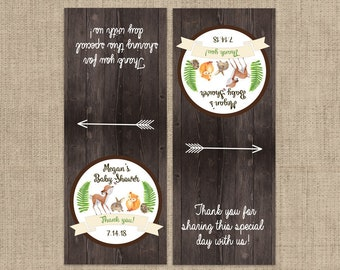 Woodlands Baby Shower Tic Tac Label, 10 Baby Shower Tic Tac Stickers , Baby Shower, Baby Favors, Rustic Baby Animals Tic Tac Labels