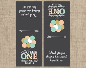 First Birthday Balloon Tic Tac Label, 10 Birthday Tic Tac Stickers , Birthday Favors, Balloon Birthday, 1st Birthday Tic Tac Labels