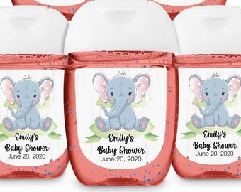 Hand Sanitizer Labels - Fits Bath & Body Works 1 oz Sized Bottles - Girls Baby Shower Labels - Elephant Baby Shower - Baby Shower Decor