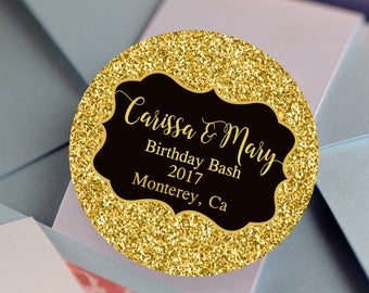 Faux Gold Glitter Stickers, Custom Labels - Birthday labels - Wedding Stickers - Birthday Decor - Thank you Stickers - Birthday Favors