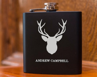 Laser Etched Flask - Deer Flask - In Gift Box - Groomsman Gift - Wedding Party Gift - Best Man Gift - Black Flasks - Christmas Gift