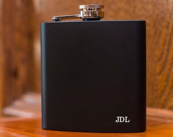 Laser Etched Flask - Initials Flask - In Gift Box - Groomsman Gift - Wedding Party Gift - Best Man Gift - Black Flasks - Gift Flask