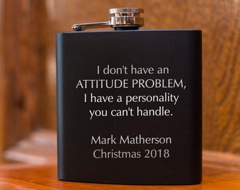 Laser Etched Flask - Custom Flask - In Gift Box - Stocking Stuffer - Holiday Gift - Gift Flask - Black Flasks - Christmas Gift